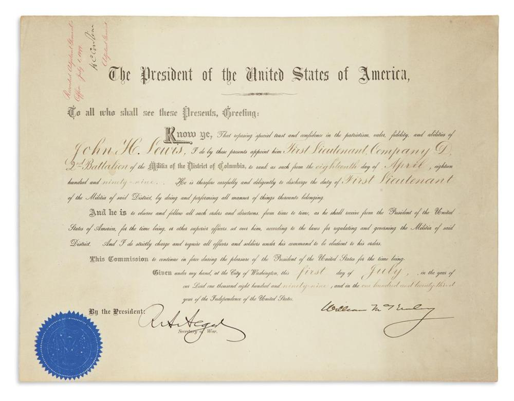 MCKINLEY, WILLIAM. Partly-printed Document Signed, as President,
