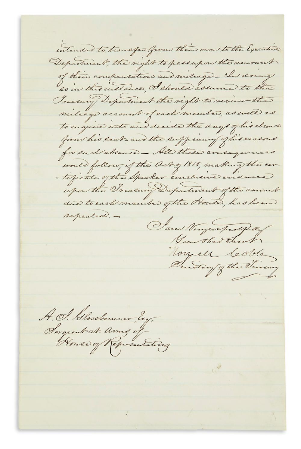 COBB, HOWELL. Letter Signed, as Secretary of the Treasury, to Sergeant at Arms of the House Adam John Glossbrenner,