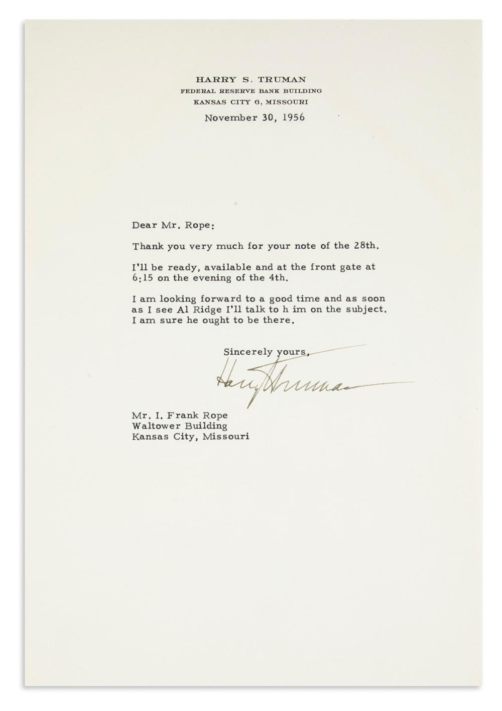 TRUMAN, HARRY S. Typed Letter Signed, to I. Frank Rope,