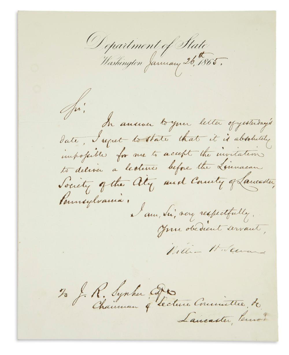 (CIVIL WAR.) SEWARD, WILLIAM H. Letter Signed, as Secretary of State, to Chairman of the Lecture Committee J.R. Sypher,