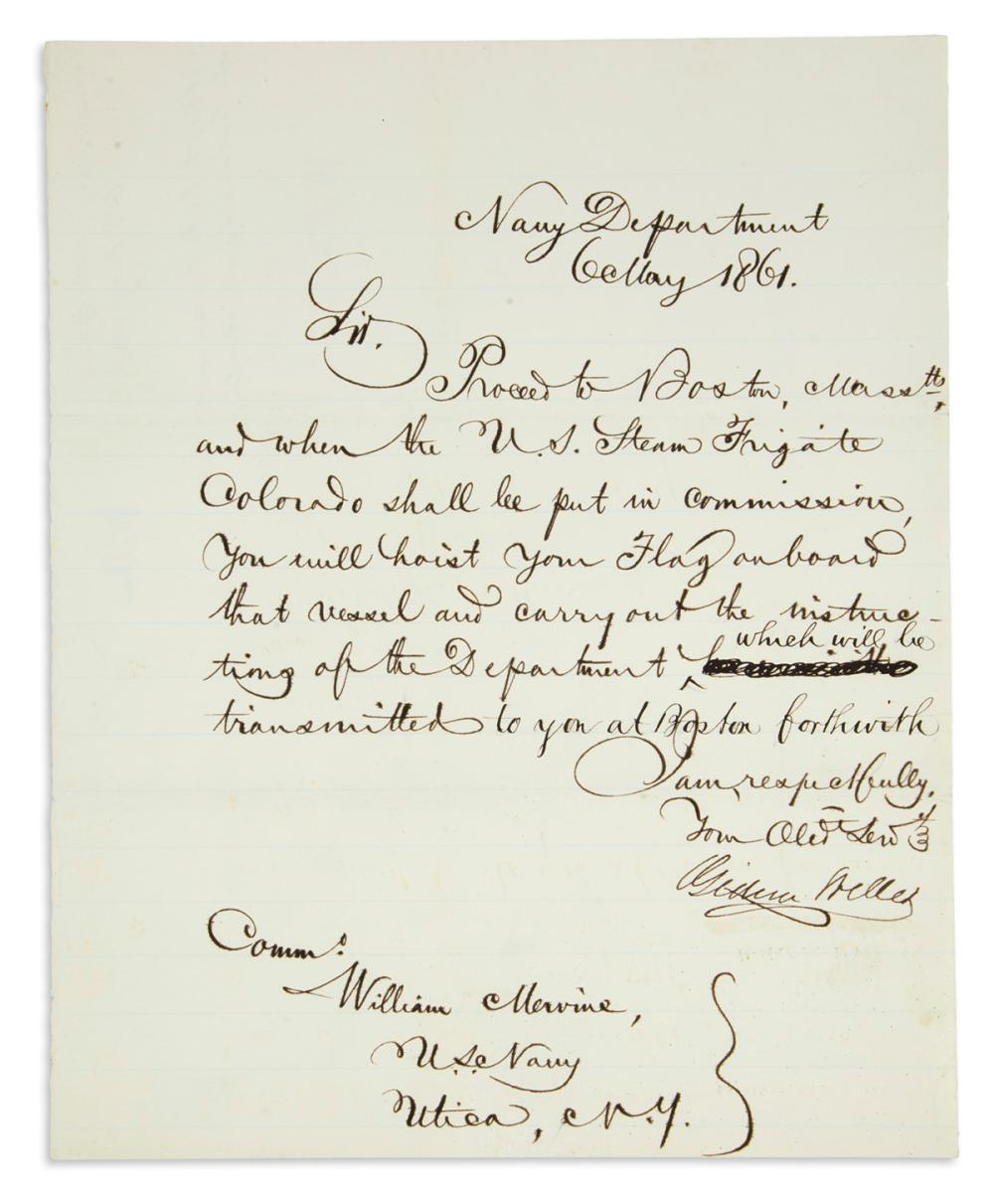 (CIVIL WAR.) WELLES, GIDEON. Letter Signed, as Secretary of the Navy, to Commodore William Mervine,