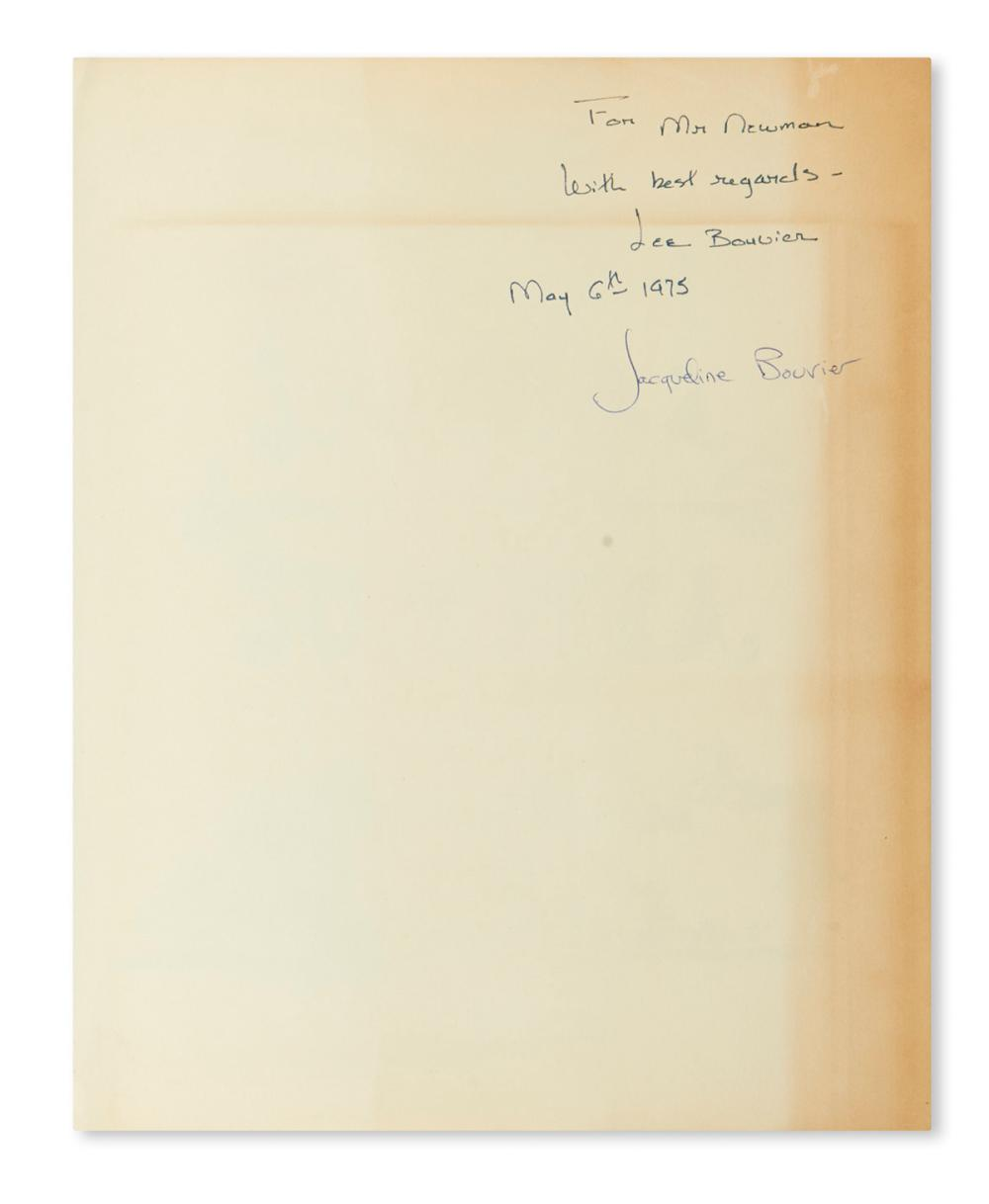 "KENNEDY, JACQUELINE. Jacqueline and Lee Bouvier. One Special Summer. Signed, ""Jacqueline Bouvier,"" and additionally signed and inscribe"