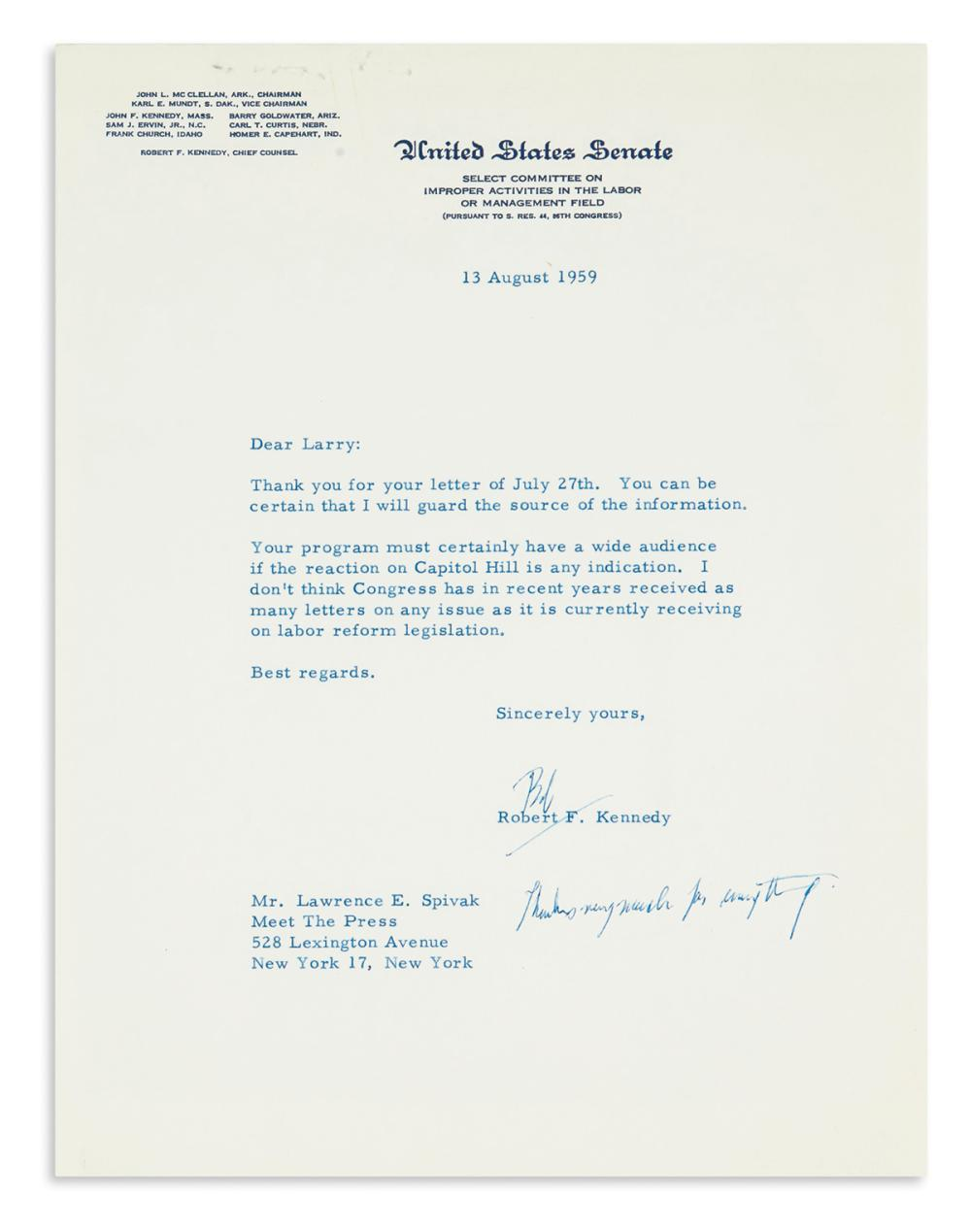 "KENNEDY, ROBERT F. Typed Letter Signed, ""Bob,"" as Senator, to Meet the Press co-founder Lawrence E. Spivak,"