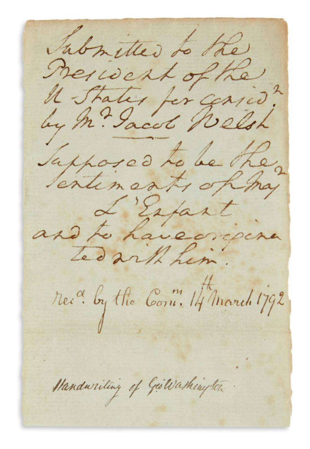 WASHINGTON, GEORGE. Autograph Manuscript, unsigned, 9 lines, likely an endorsement on a now absent communication: