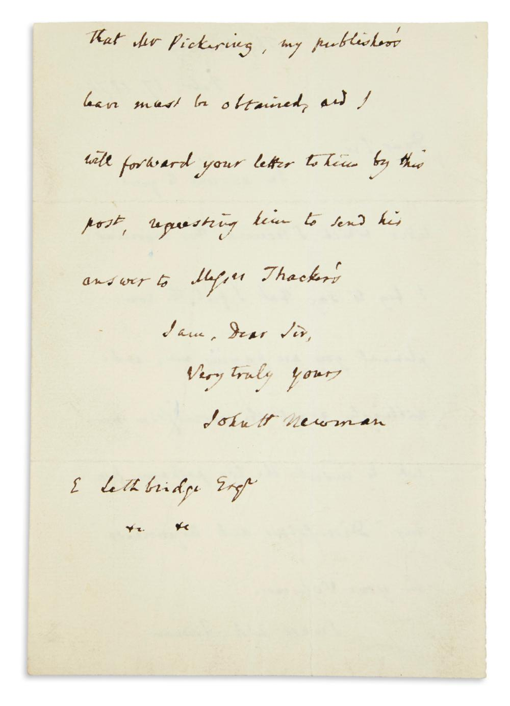 "NEWMAN, JOHN HENRY; CARDINAL. Autograph Letter Signed, ""JohnH Newman,"" to E. Lethbridge,"