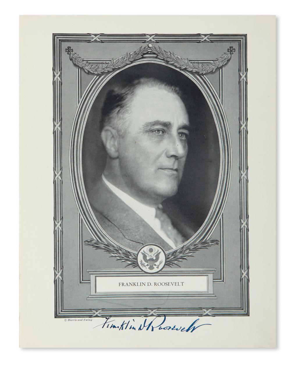 ROOSEVELT, FRANKLIN D. Official Program of the Inaugural Ceremonies. Signed below his portrait on page 5.