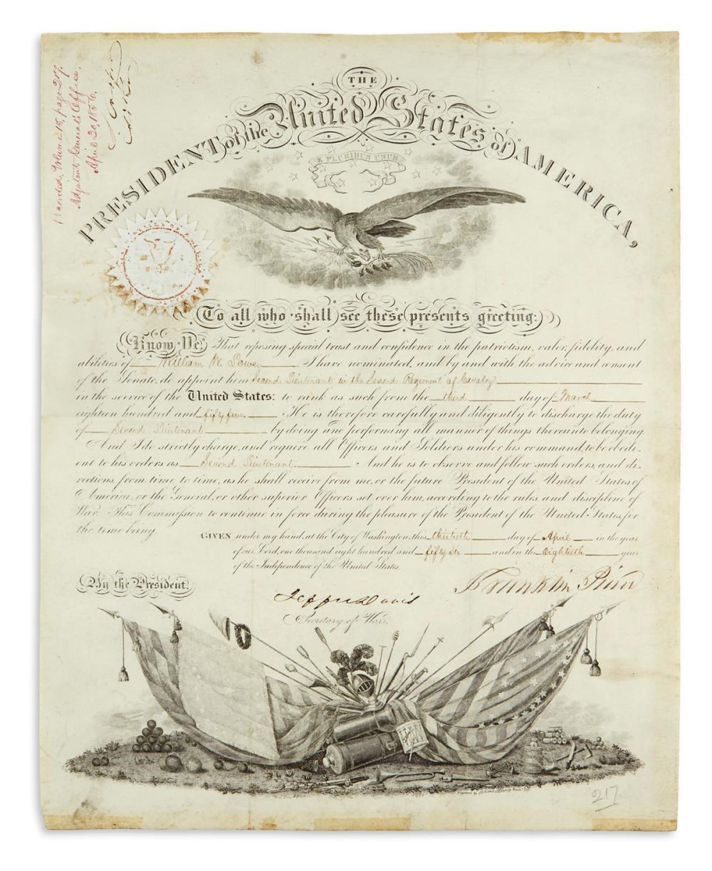 PIERCE, FRANKLIN. Partly-printed vellum Document Signed, as President, military commission appointing William W. Lowe