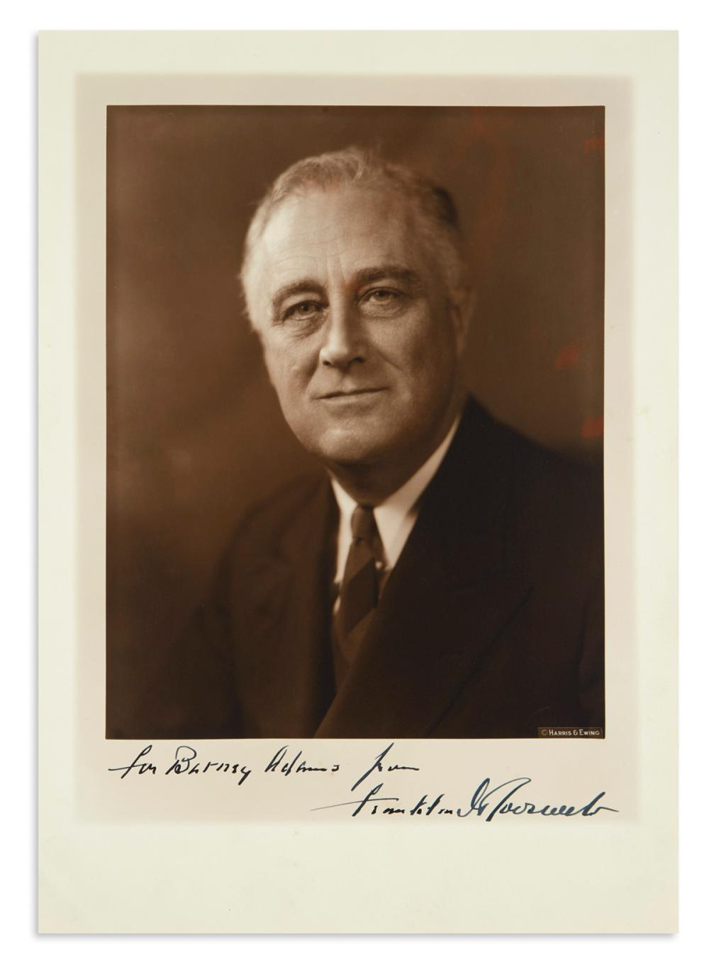 "ROOSEVELT, FRANKLIN D. Large Photograph Signed and Inscribed, ""for Barney Adams,"""
