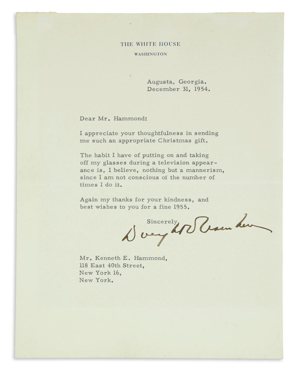 EISENHOWER, DWIGHT D. Typed Letter Signed, as President, to Kenneth E. Hammond,