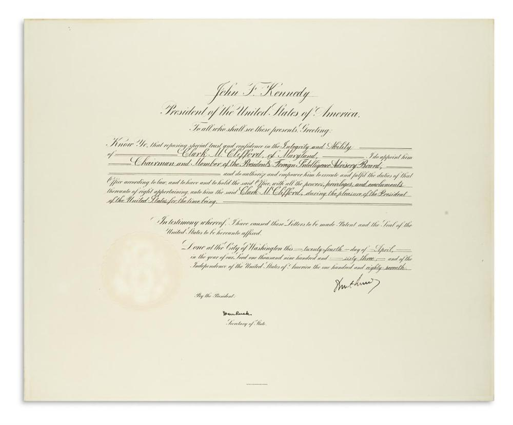 KENNEDY, JOHN F. Document Signed, as President, appointing Clark M. Clifford Chairman of the President's Foreign Intelligence Advisory