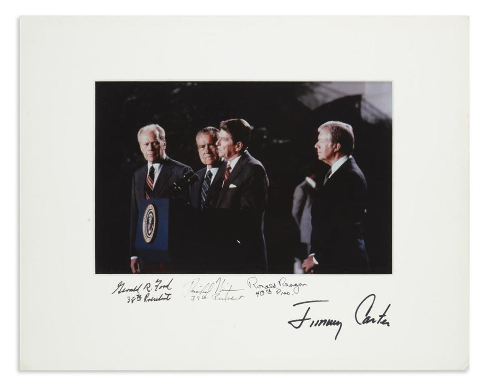 (PRESIDENTS.) Color group Photograph Signed, by Presidents Ronald Reagan, Gerald Ford, Jimmy Carter, and Richard Nixon,