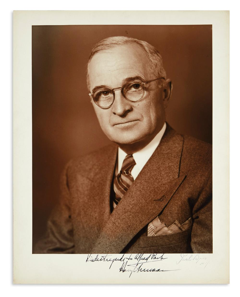 "TRUMAN, HARRY S. Large Photograph Signed and Inscribed, ""Kindest regards to Alfred Pach,"""