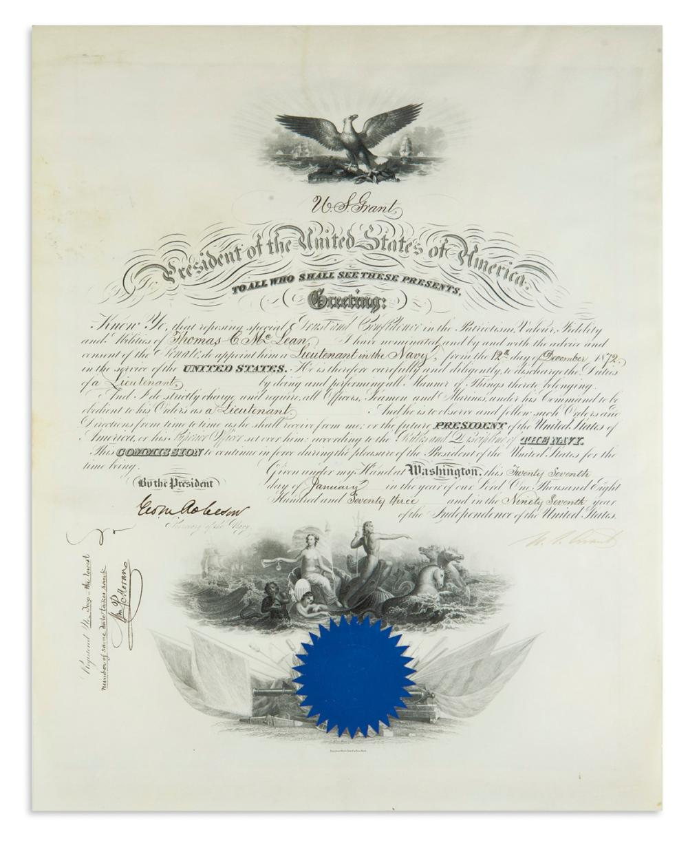 "GRANT, ULYSSES S. Partly-printed vellum Document Signed, ""U.S. Grant,"" as President,"