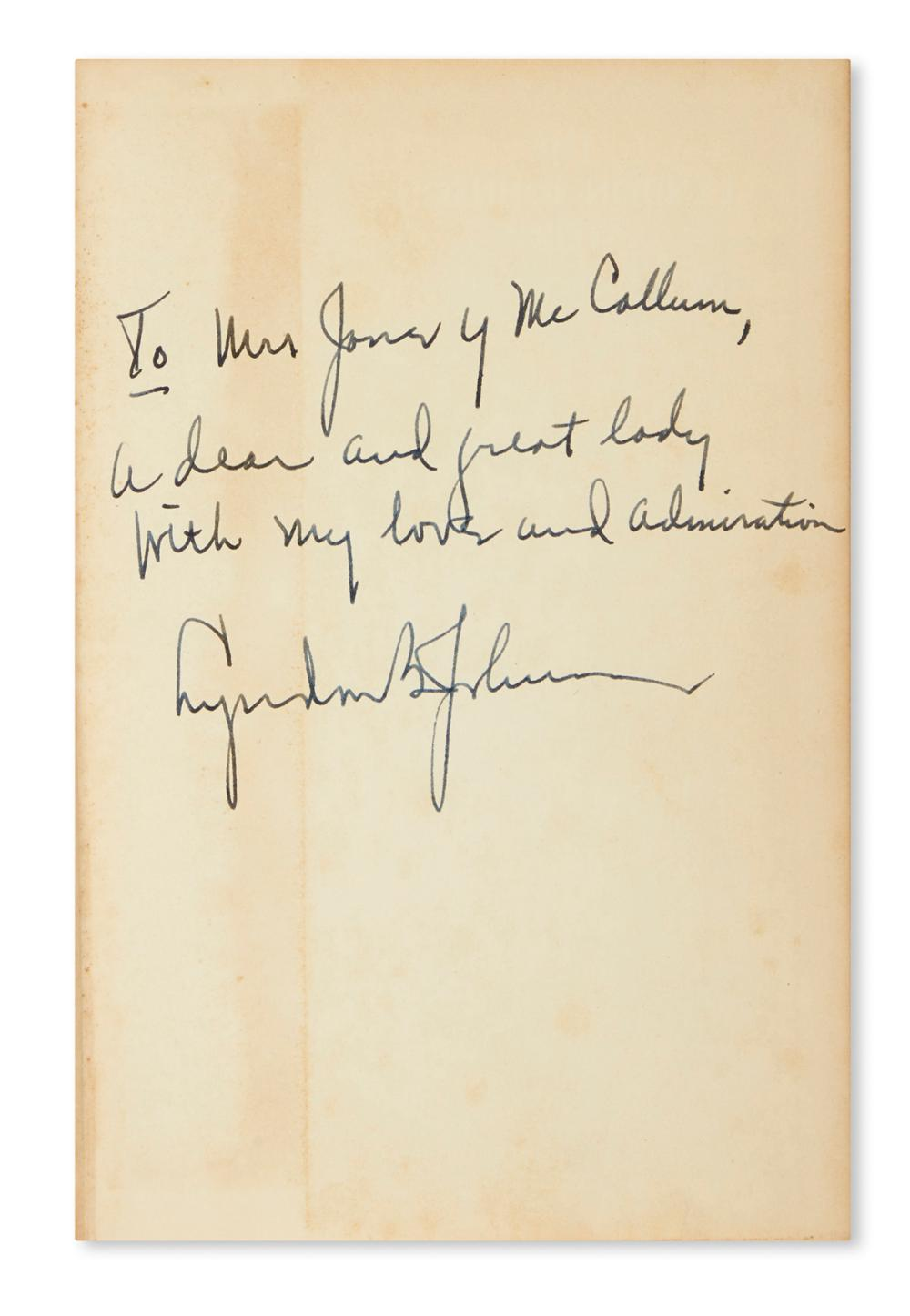 JOHNSON, LYNDON B. Booth Mooney. The Lyndon Johnson Story. Signed and Inscribed, on the front free endpaper: