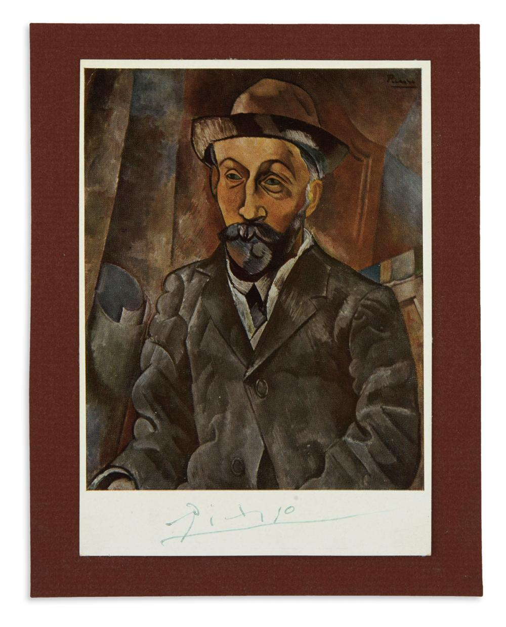 "PICASSO, PABLO. Signature, ""Picasso,"" on a reproduction of his ""Portrait de Clovis Sagot"" (1909), in green ink."