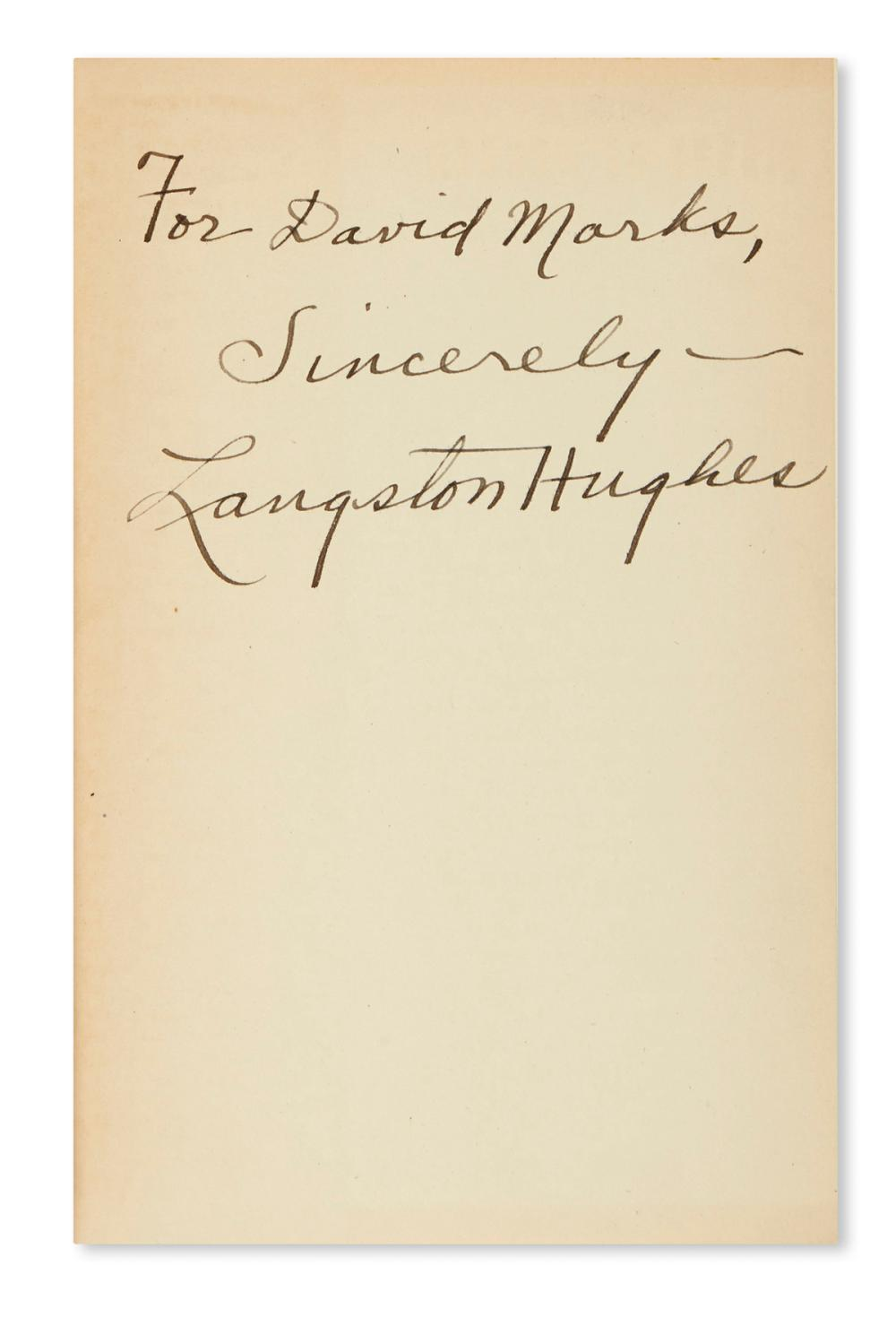 HUGHES, LANGSTON. Fields of Wonder. Signed and Inscribed, on the front free endpaper: