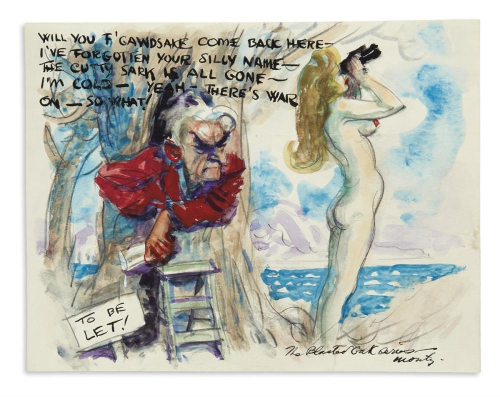 "FLAGG, JAMES MONTGOMERY. Group of 4 watercolor and ink drawings Signed, ""J.M.F.,"" ""Monty,"" or in full, cartoons,"