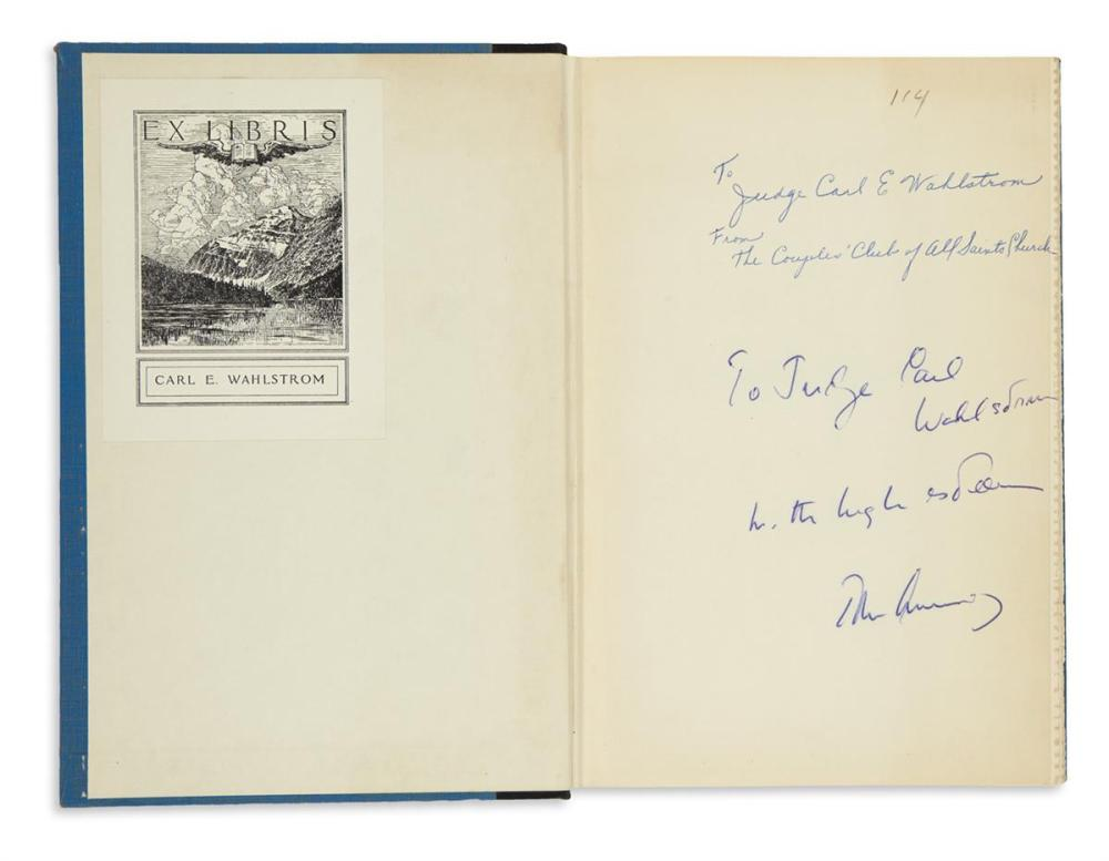 "KENNEDY, JOHN F. Profiles in Courage. Signed and Inscribed, ""To Judge Carl / Wahlstrom / with high esteem / John Kennedy,"" on the front"