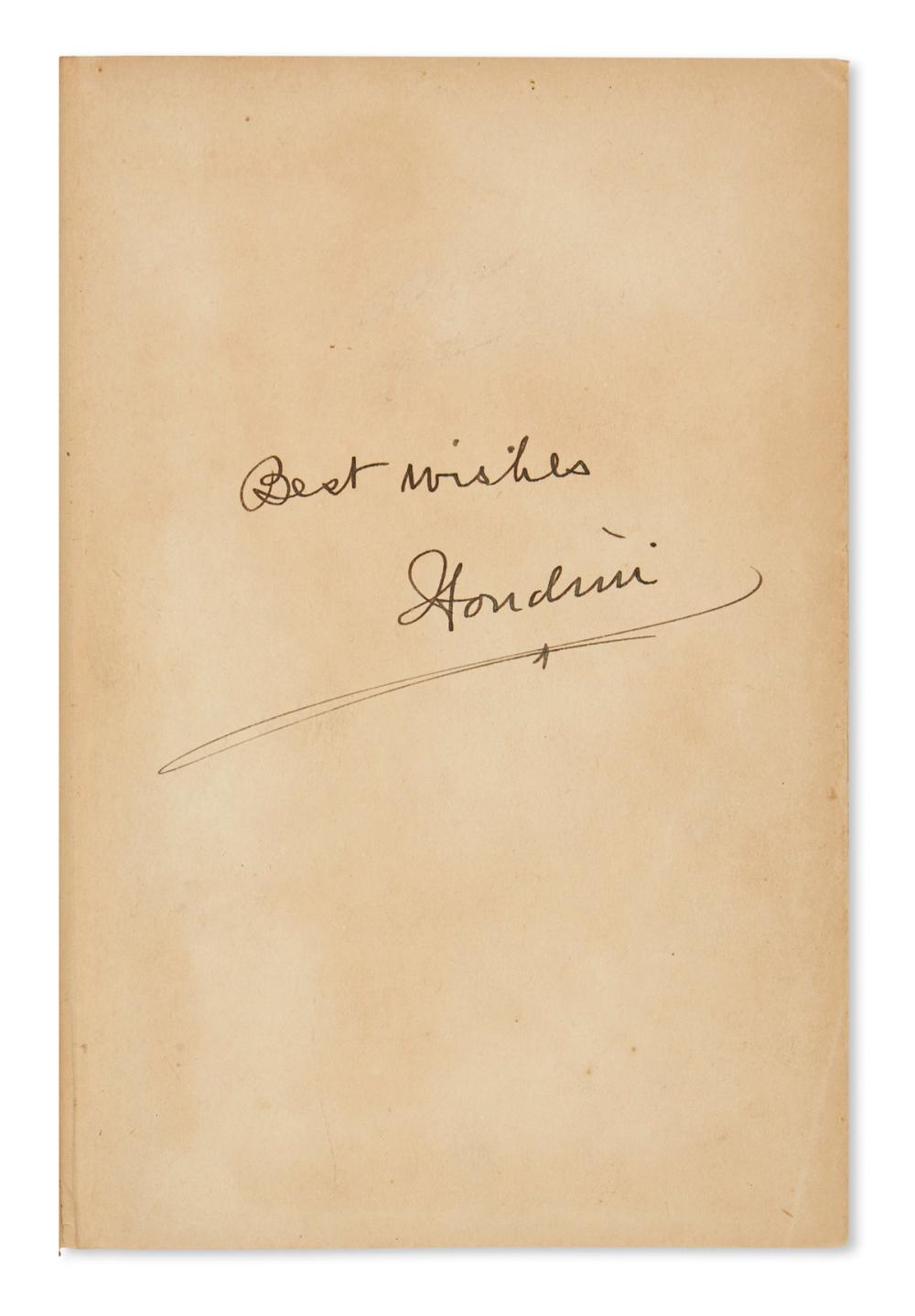 "HOUDINI, HARRY. A Magician Among the Spirits. Signed twice, ""Houdini,"" and Inscribed on the front free endpaper: ""Best wishes."""