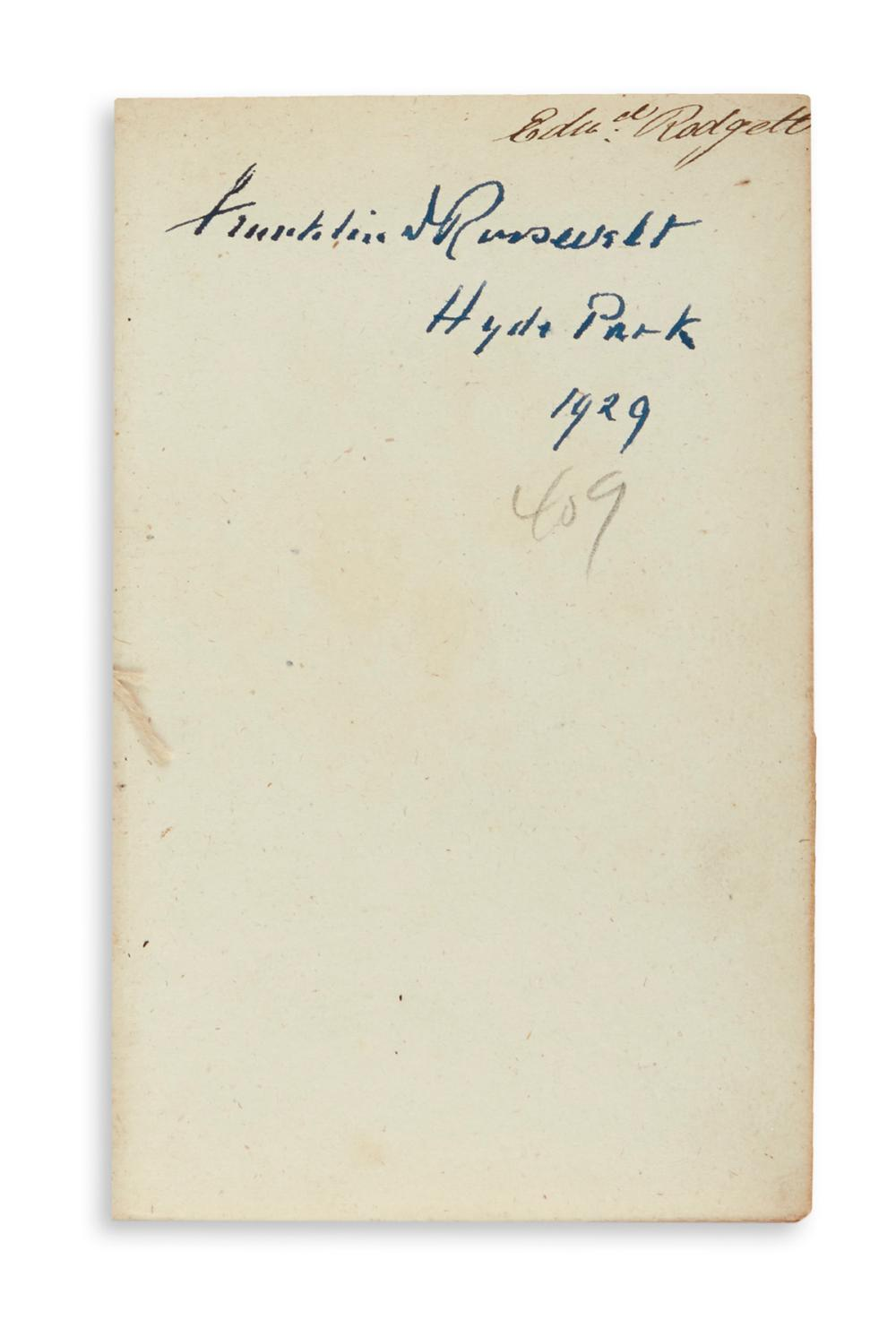 ROOSEVELT, FRANKLIN D. Homer and Alexander Pope. The Odyssey. Signed and dated by Roosevelt on a front blank.