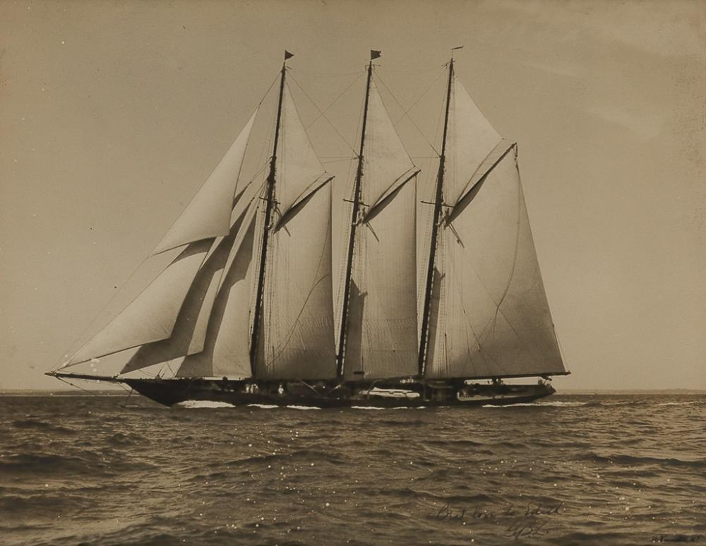 ROSENFELD, DR. MORRIS (1885-1968) Yacht. Silver print, 10¼x13¼ inches (26x33.7 cm.), with Rosenfeld's signature and an inscription,