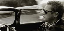 """AVERY, SID (1918-2002) """"Steve McQueen Driving his 1957 XK-55 Jaguar Through Nichols Canyon in the Hollywood Hills."""""""