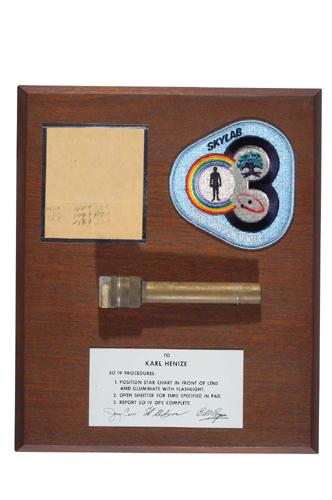 FLOWN flashlight and data sheet from Skylab 3.