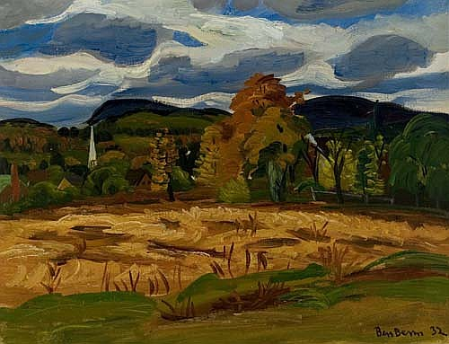 BEN BENN Fall Landscape with Farm and Church Spire.