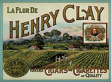 DESIGNER UNKNOWN. LA FLOR DE HENRY CLAY / HAVANA CIGARS AND CIGARETTES. Reverse painted on glass. 17x23 inches, 45x70 cm.