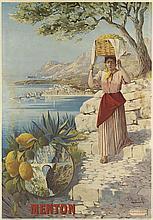 F. HUGO D'ALESI (1849-1906). MENTON. Circa 1895. 39x27 inches, 101x70 cm. Hugo d'Alesi, Paris.