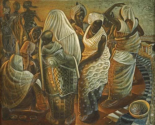 JOHN BIGGERS (1924 - 2001) Market Women, Ghana.
