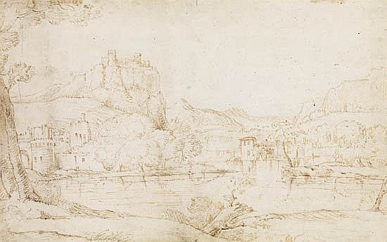 DOMENICO CAMPAGNOLA (ATTRIBUTED TO) (Venice 1500-1564 Venice) A Northern Italian Landscape with a Walled Town and Houses beside a Lake.