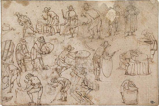 ITALIAN SCHOOL, 16TH-CENTURY Studies of Coopers Making Barrels.