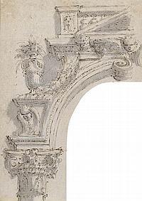PIO PANFILI (Porto San Giorgio 1723–Bologna 1812) Left Portion of an Illusionistically Painted Arch.