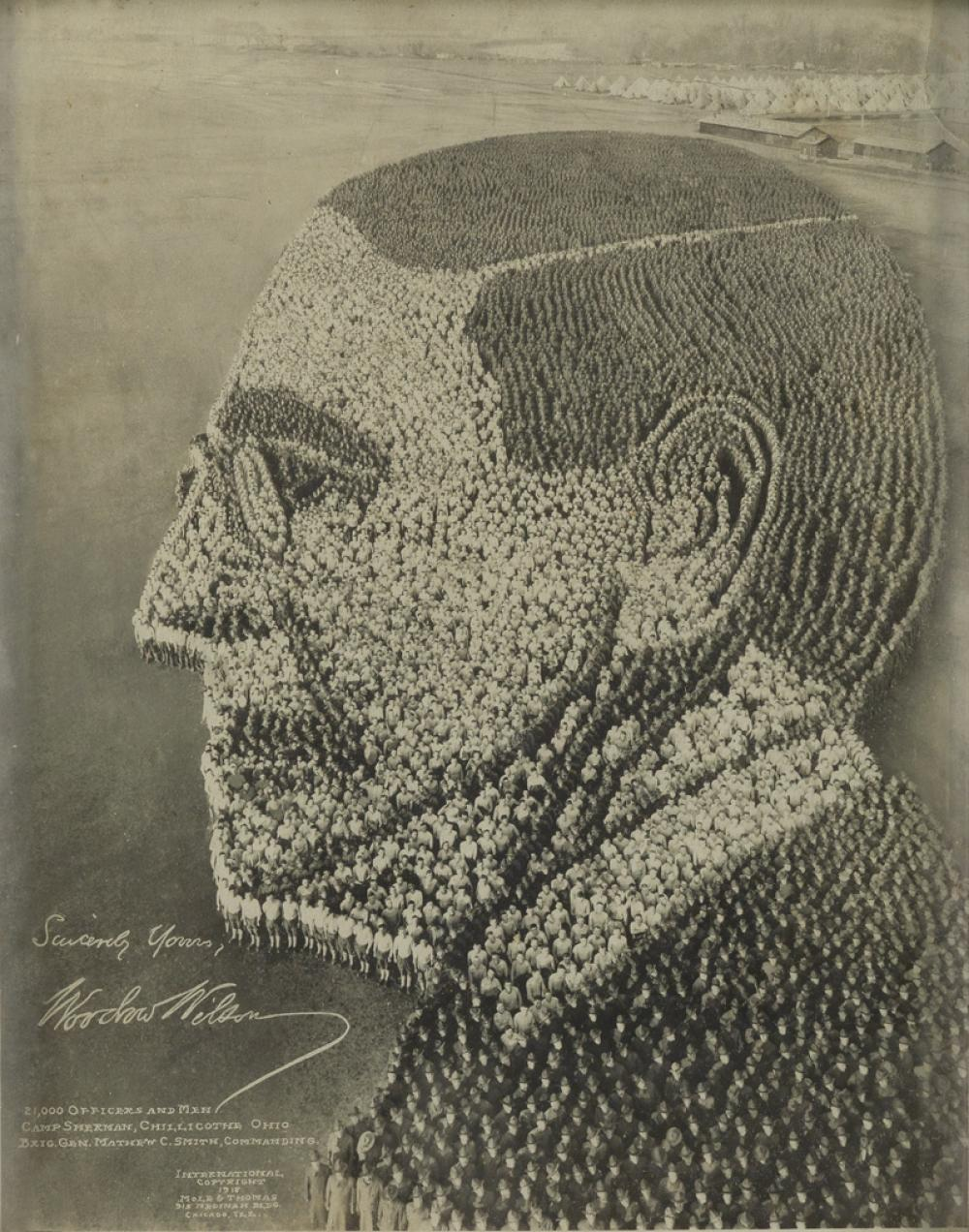 ARTHUR MOLE (1889-1983) & JOHN THOMAS (active 1918-1919) Woodrow Wilson, 21,000 Officers and Men, Camp Sherman, Chillicothe Ohio, Brig.