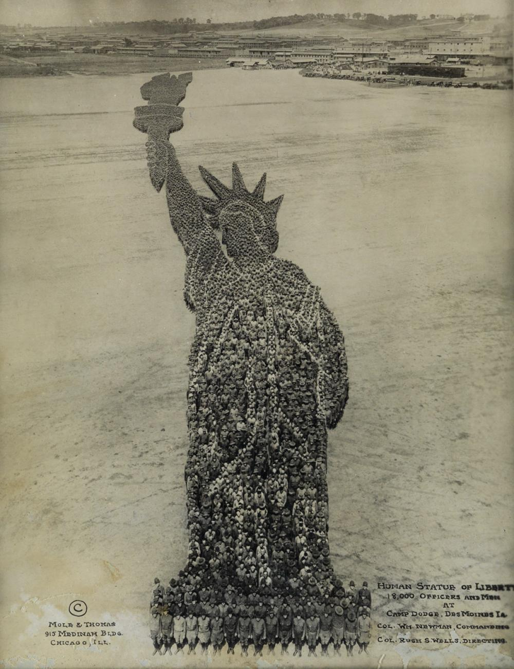 ARTHUR MOLE (1889-1983) & JOHN THOMAS (active 1918-1919) Human Statue of Liberty, 18,000 Officers and Men at Camp Dodge, Des Moines, IA