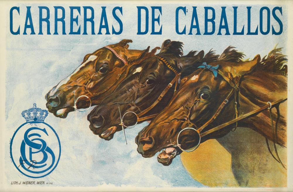 F.R. (MONOGRAM UNKNOWN). CARRERAS DE CABALLOS. 24x36 inches, 61x93 cm. J. Weiner, Vienna.