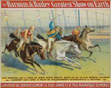 DESIGNER UNKNOWN. THE BARNUM & BAILEY GREATEST SHOW ON EARTH. 1898. 29x36 inches, 74x93 cm. Strobridge Lith. Co., Cincinnati.
