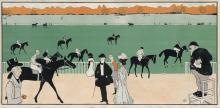 MAURICE BIAIS (1860-1934). [CHAMPS DE COURSE.] Circa 1897. 21x42 inches, 53x106 cm. Ed. Sagot, Paris.