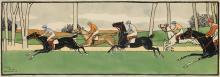 HARRY ELIOTT (1882-1959). [HORSE RACE.] 1902. 14x39 inches, 36x100 cm.