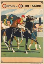 LÉON VALENTIN GAMBEY (1883-1914). COURSES DE CHALON S/ SAÔNE. Circa 1911. 51x36 inches, 129x91 cm. J. Minot, Paris.
