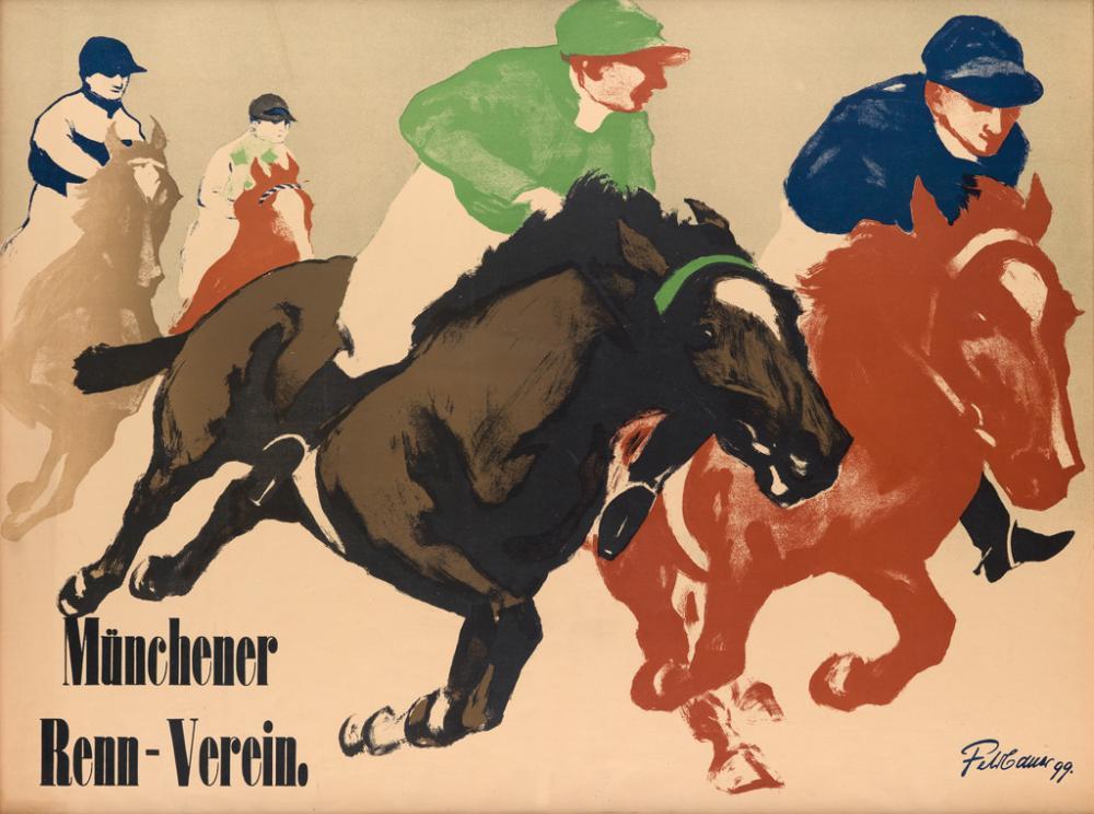MAX FELDBAUER (1869-1948). MÜNCHENER RENN - VEREIN. 1899. 28x37 inches, 72x94 cm.