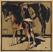 LUDWIG HOHLWEIN (1874-1949). [TURF.] Group of 3 plates. 1909. Each approximately 19x19 inches, 49x50 cm. [Kunst & Verlagsanstalt Graphi