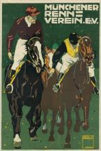 LUDWIG HOHLWEIN (1874-1949). MÜNCHENER RENN - VEREIN. 1910. 38x26 inches, 92x67 cm. Joh. Roth, Munich.