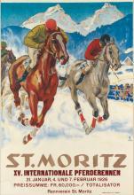 HUGO LAUBI (1888-1959). ST. MORITZ / XV. INTERNATIONALE PFERDERENNEN. 1924. 50x35 inches, 127x89 cm. Fretz, Zurich.