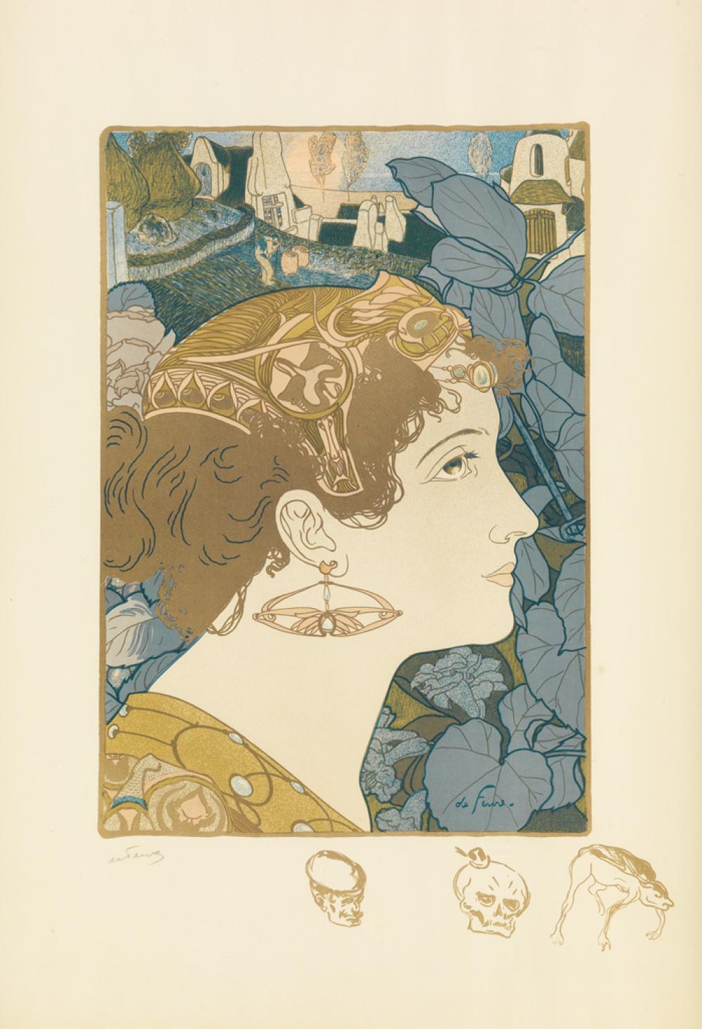 GEORGES DE FEURE (1868-1943). [PROFIL DE FEMME.] 1898. 22x16 inches, 57x41 cm.