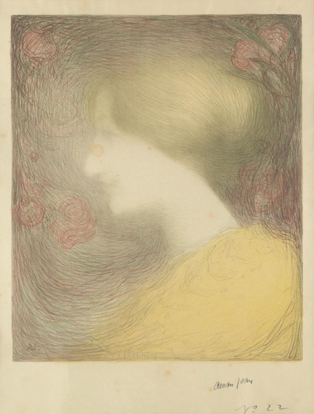 EDMOND FRANÇOIS AMAN-JEAN (1858-1936). [TÊTE DE FEMME, DE PROFIL À GAUCHE.] Lithograph. Circa 1897. 22x16 inches, 56x42 cm.
