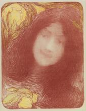 EDMOND FRANÇOIS AMAN-JEAN (1858-1936). [SOUS LES FLEURS.] Lithograph. 1897. 14x11 inches, 36x28 cm. F. Champenois, Paris.