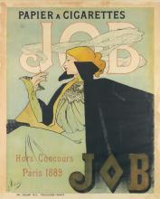 JANE ATCHÉ (1872-1937). JOB / PAPIER A CIGARETTES. 1889. 56x42 inches, 143x108 cm. Cassan Fils, Toulouse.