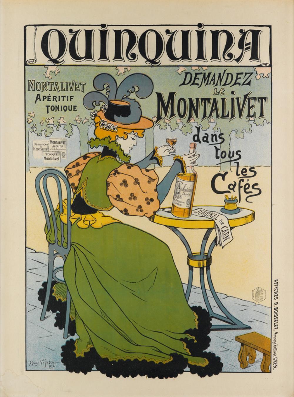 GEORGE LEFÈVRE (1876-1953). QUINQUINA / DEMANDEZ LE MONTALIVET DANS TOUS LES CAFÉS. 1897. 33x25 inches, 83x63 cm. Affiches R. Boisselet